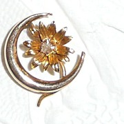 Victorian 14k Gold Stickpin Crescent Moon with Diamond