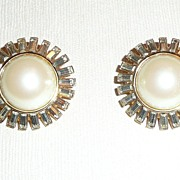 Vintage St. John Clip Earrings Faux Pearls