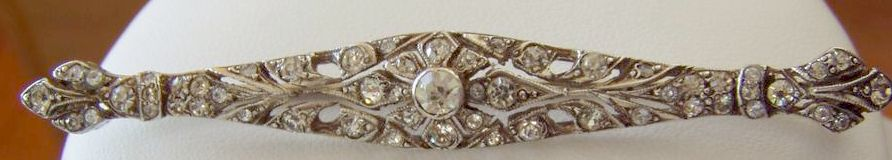 Beautiful Vintage Sterling Paste Brooch Bar Pin Perfect for Bride!