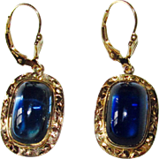 Vintage Gold Sugarloaf Blue Stone Earrings