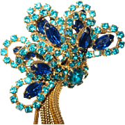 Spectacular Teal Green Blue Rhinestone Brooch and Earrings