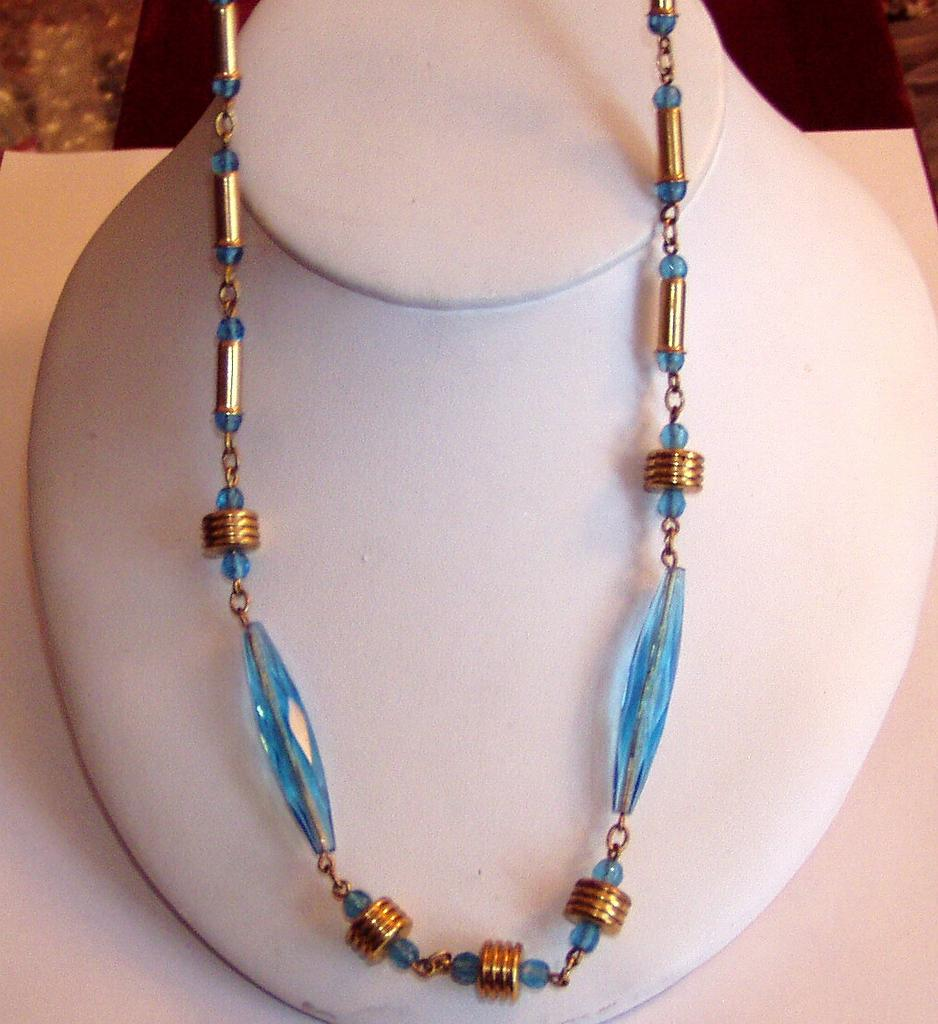 Aqua Glass Long Art Deco Beads