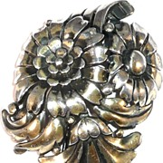 Trifari 'Alfred Philippe' Silvertone Deco Triple Floral Spray Pin Clip