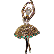 Rare Trifari Alfred Philippe Ballerina Emerald Rhinestone Glass Moonstone
