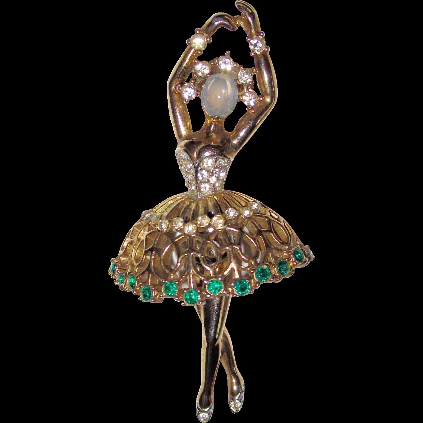 Rare Brooch Trifari Alfred Philippe Ballerina Emerald Rhinestone Glass Moonstone