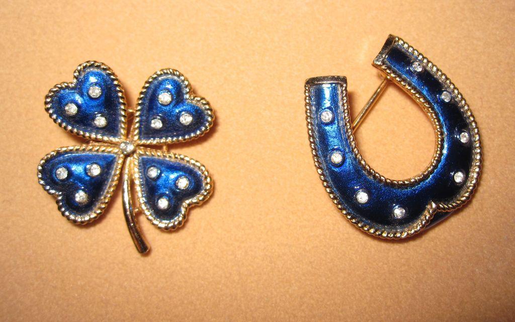 Vintage Trifari Four Leaf Clover and Horseshoe Pins Blue