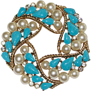Trifari Faux Turquoise Faux Pearls Brooch