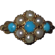 Victorian 15K Gold Turquoise Pearls Ring