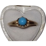 Victorian Turquoise Ring  14K Rose Gold