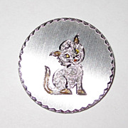 Adorable Sterling Pin Kitty Cat!
