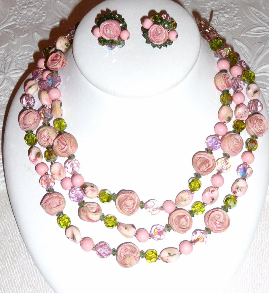Perfect for Wedding! Vintage Vendome Necklace Roses Demi Parure