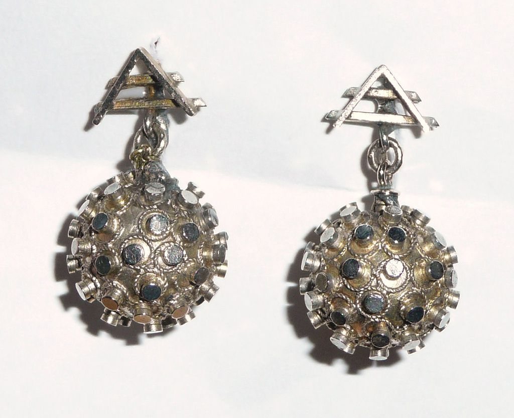 Victorian Gold plated Earrings Balls