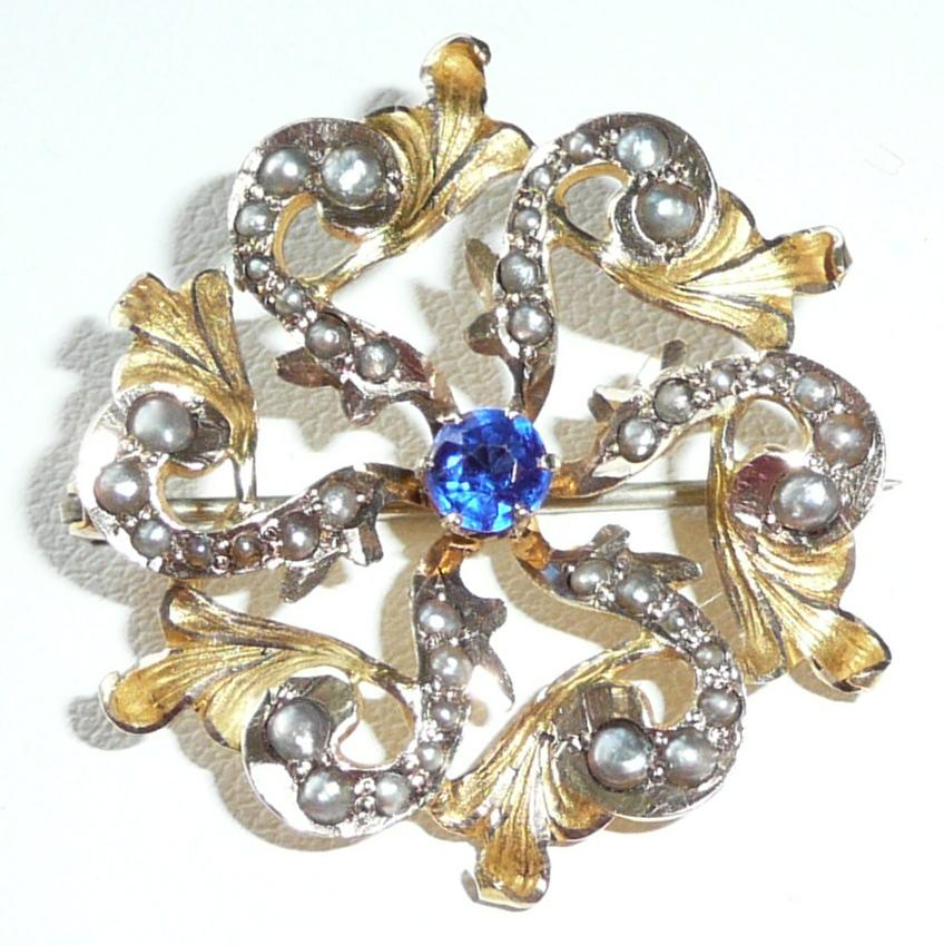 Excellent Gold Pearls Victorian Pin Blue Stone