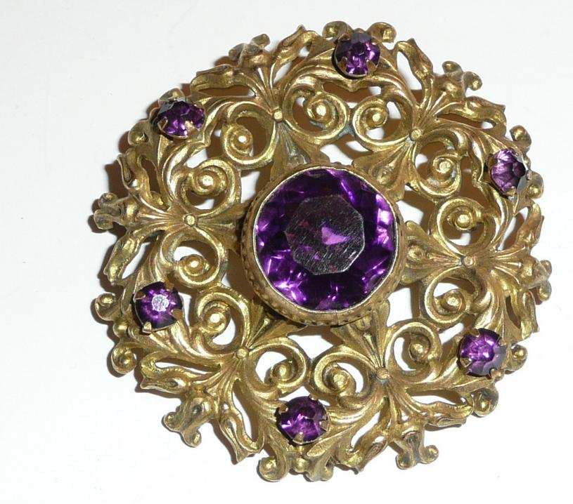 Victorian Gilt Brass Brooch Purple Glass Stone