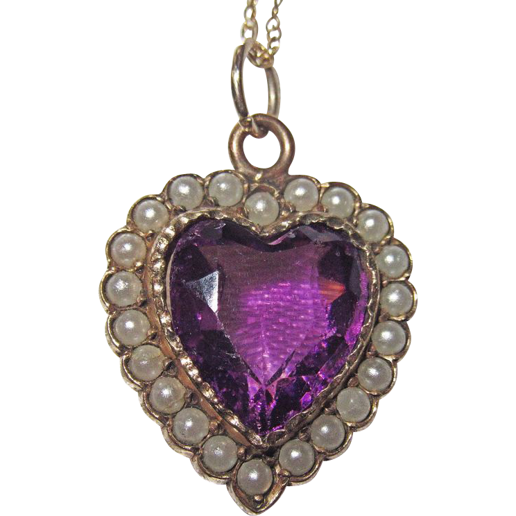 Victorian Puffy Heart Charm Seed Pearls Purple