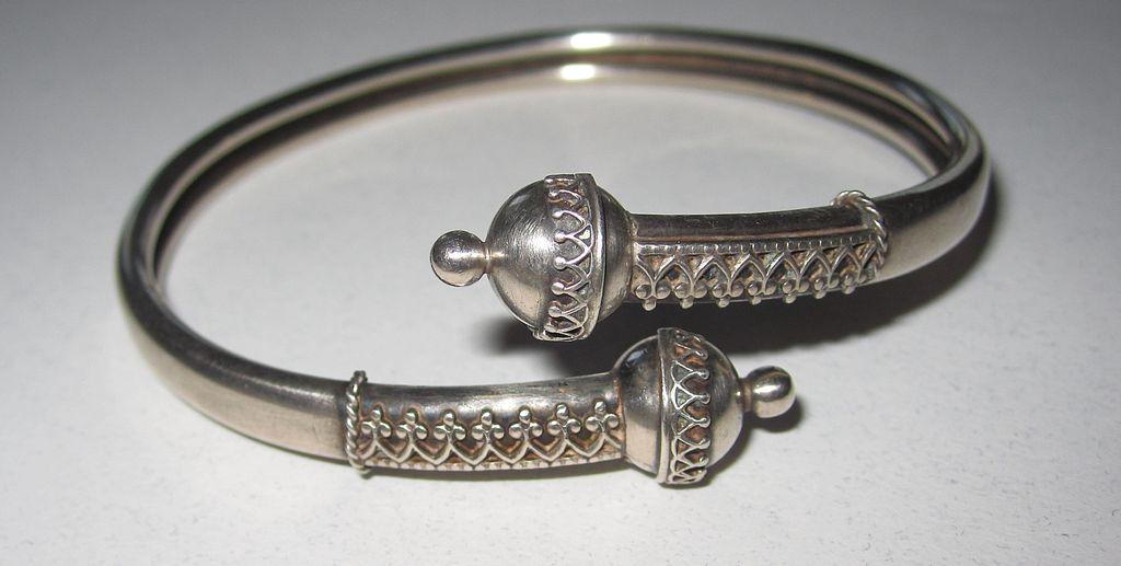 Victorian Silver Bypass Bracelet