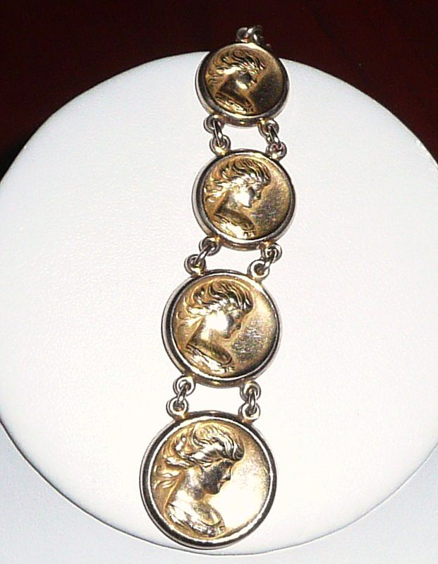 Art Nouveau Gold Fill Fob Lady Faces