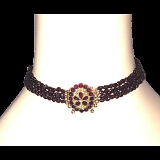 Victorian Bohemian Garnet Beads Choker