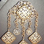 Huge Victorian Brooch Brass Filigree
