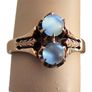 Victorian Double Moonstone Ring Rose Gold