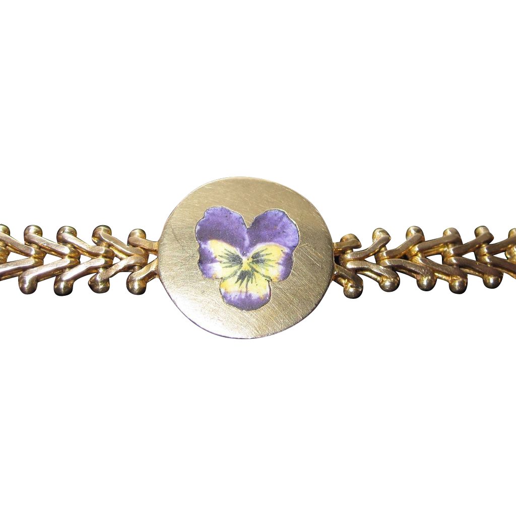 Sale Wonderful Victorian Enamel Pansy Gold Filled Bracelet
