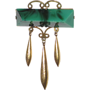 Victorian Brooch Malachite Glasd