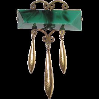 Victorian Brooch Malachite Glass