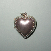 Victorian Puffy Heart Sterling Locket Large