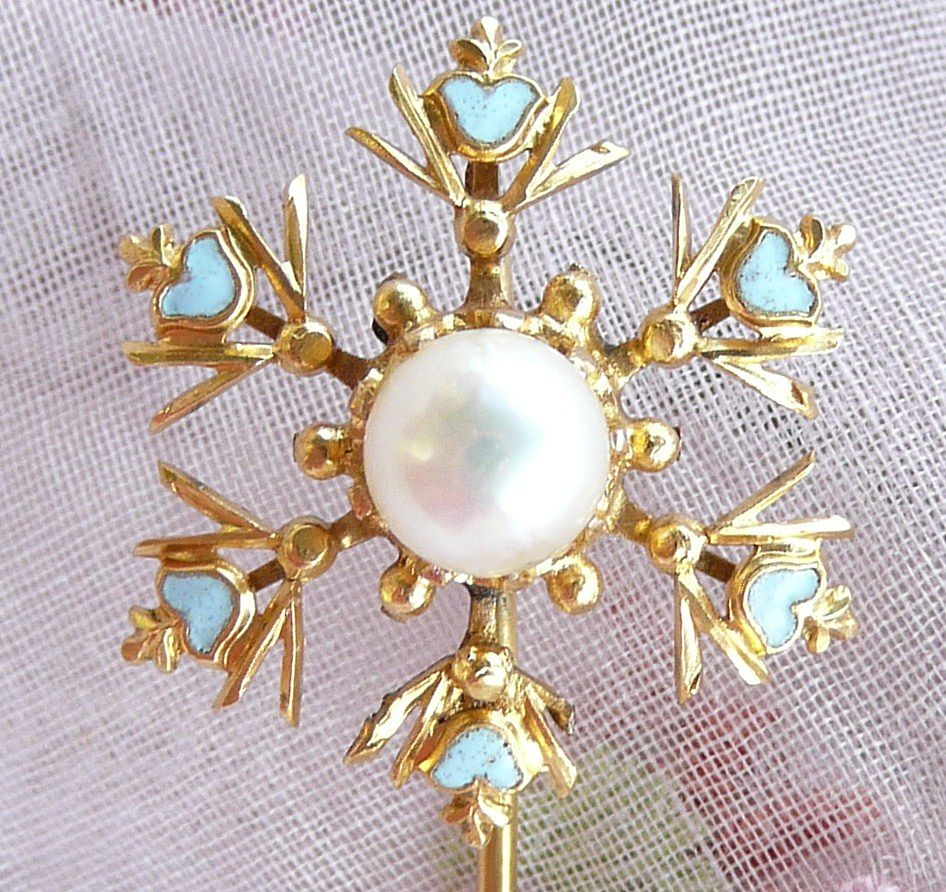 Victorian Enamel and Pearl 14K Gold Stickpin