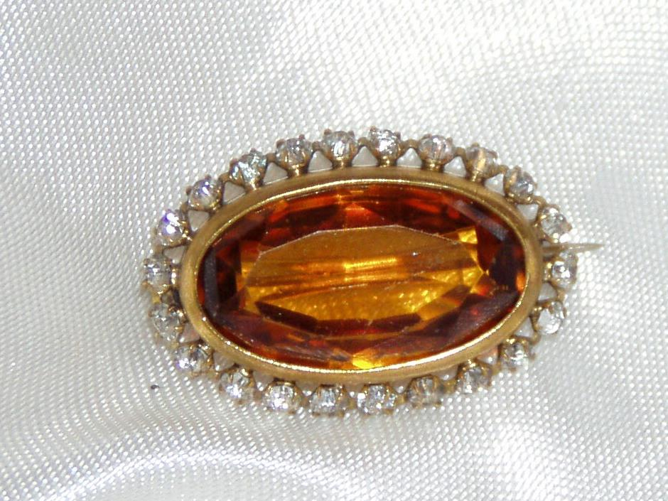 Victorian Glass Pin Golden Color