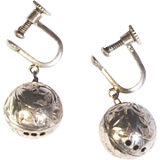 Victorian Etched Sterling Silver Vinaigrette Earrings