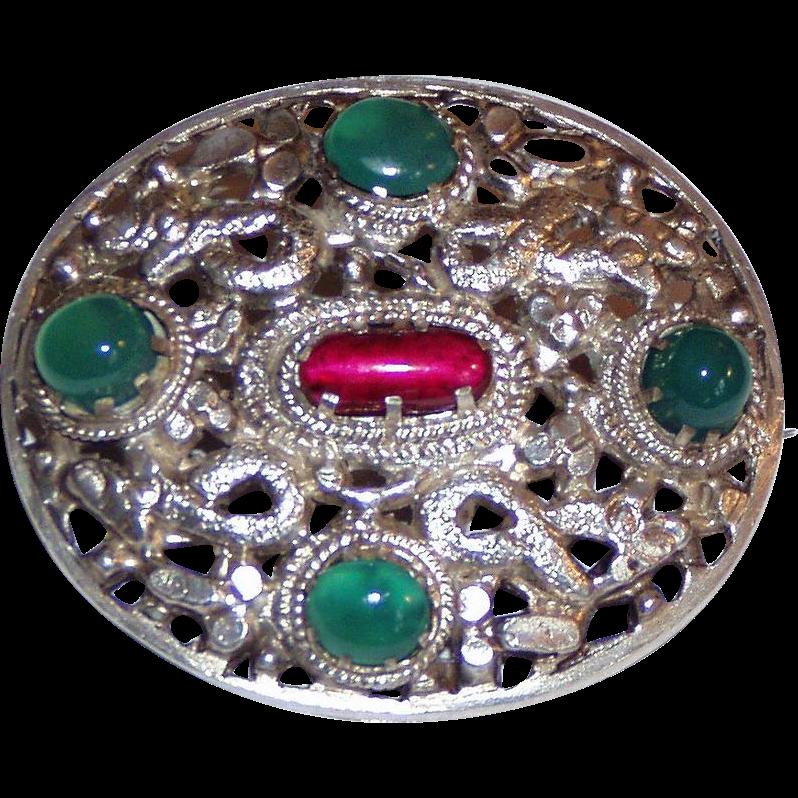 Vintage Silver Chrysoprase Brooch