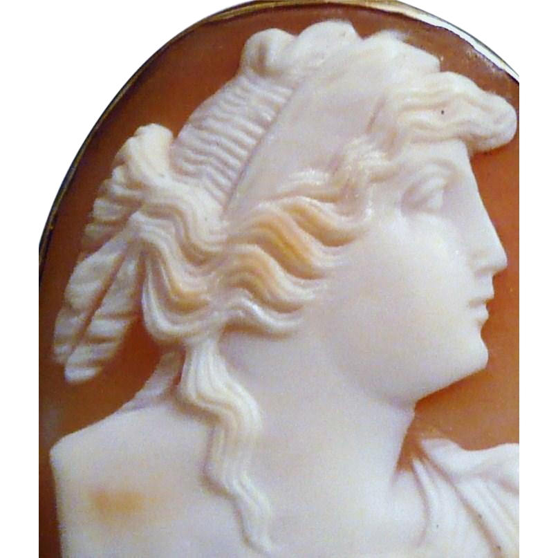 10K Gold Framed Carved Shell Cameo