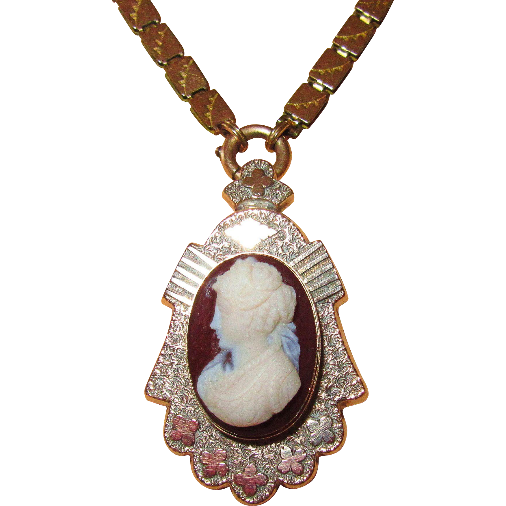 Victorian Hardstone Cameo Pin or Pendant on Bookchain