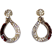Pretty Vintage Clip Rhinestone Earrings