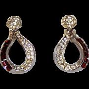 Pretty Vintage Clip Rhinestone Earrings