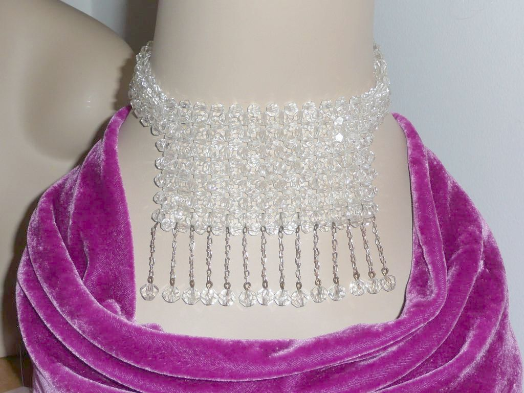 Lovely Vintage Crystal Beads Dog Collar