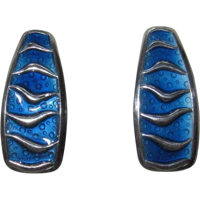 Vintage David Andersen Wave Earrings Blue