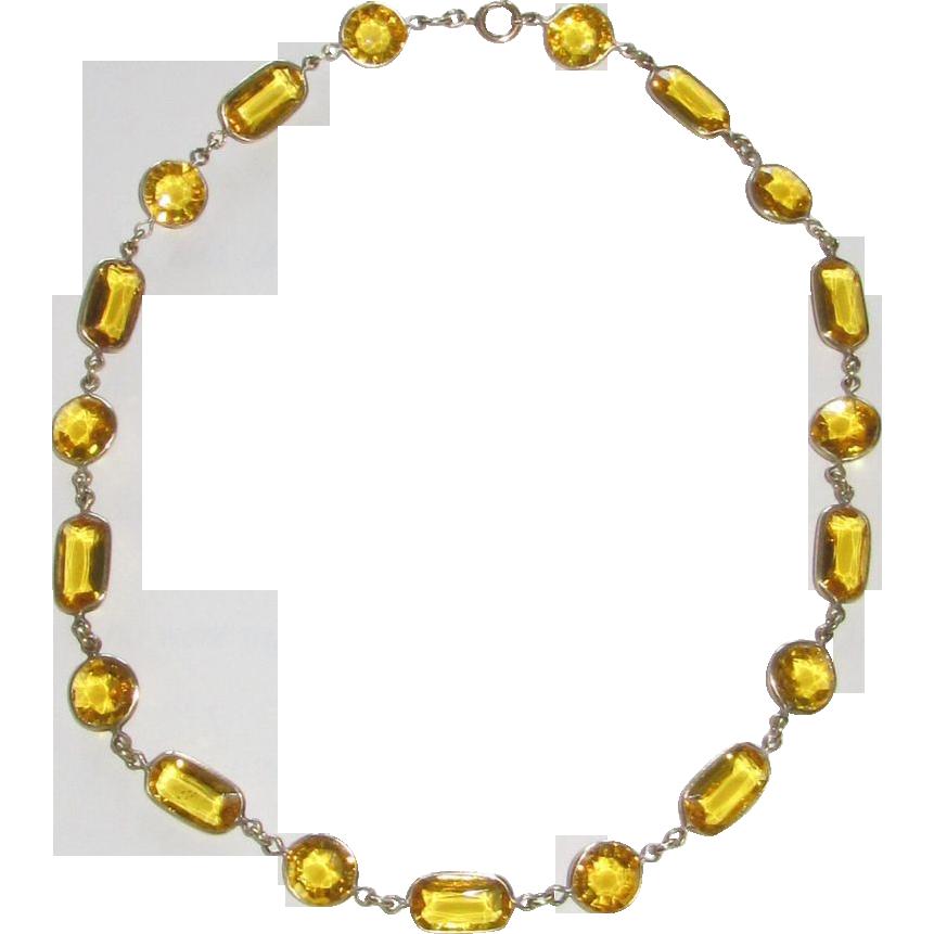 Vintage Yellow Crystal Choker Vintage