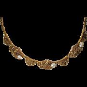 Art Deco Goldtone Necklace Acorn Motif
