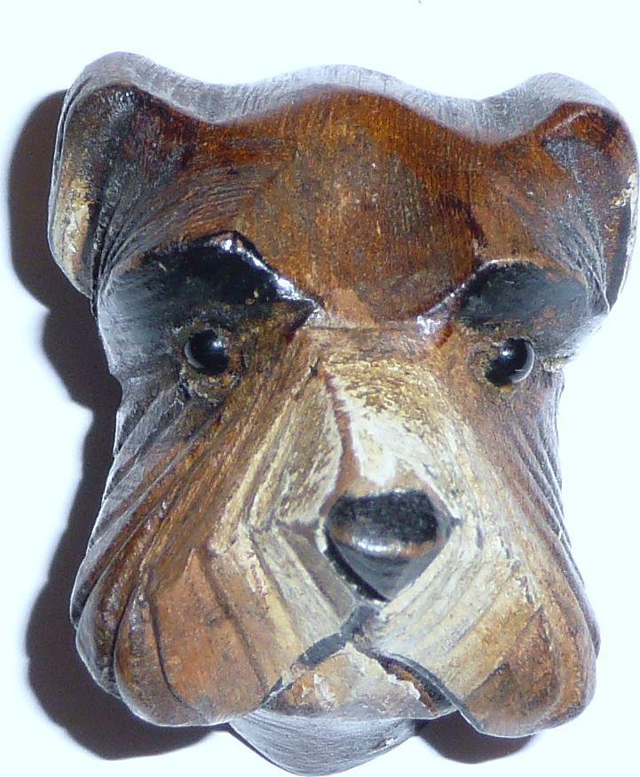 Vintage Wood Dog Pin Cute Schnauzer