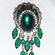 Beautiful Vintage Green Glass Rhinestone Brooch