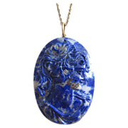 Vintage Carved Lapis Cameo