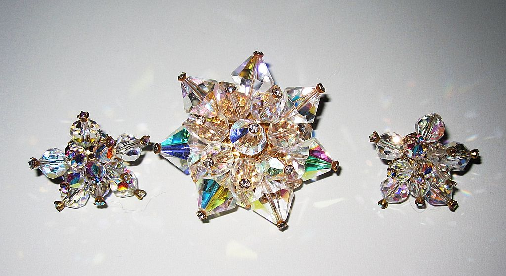 Beautiful Rainbow Crystal Brooch and Earrings