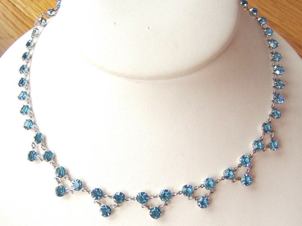 Sweet Vintage Aqua Crystal Choker Wedding or Prom