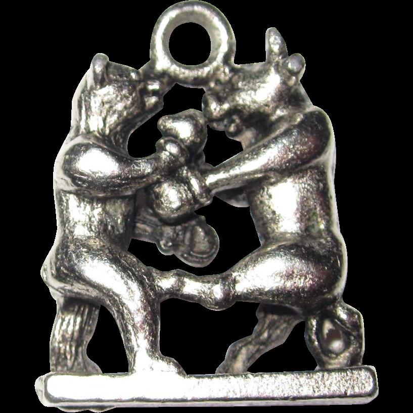 Wall Street Boxing Match Bull Boxes Bear Charm