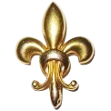 14K Victorian Watch Pin Puffy Fleur de Lis