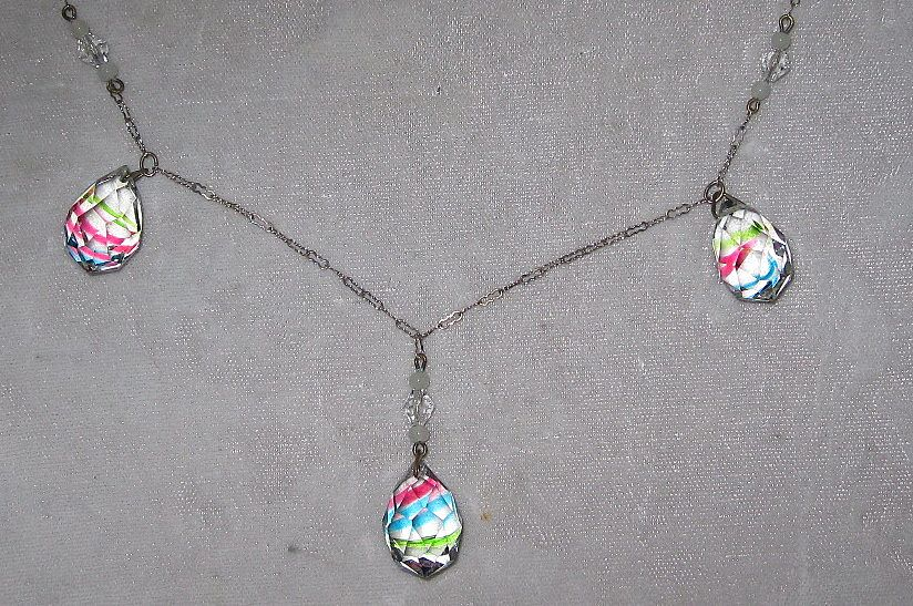 Vintage Rainbow Striped Crystal Necklace with Earrings