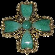 Weiss Jade Glass Faux Pearls Maltese Cross Brooch Pendant