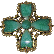 Weiss Jade Glass Faux Pearls Maltese Cross Brooch Pendant